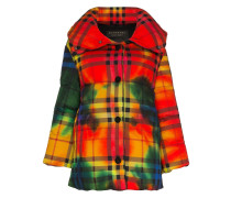 vintage check tie-dye cotton puffer jacket