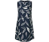 Ärmelloses Kleid mit Blatt-Print