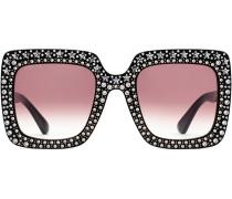 Oversized-Sonnenbrille mit Kristallen