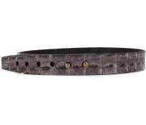 Krokodilledergürtel mit Nietenverschluss