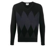 Argyle knit V-neck jumper