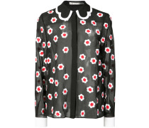 floral embroidered sheer shirt