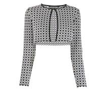 Cropped-Cardigan mit geometrischem Print