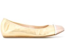 metallic toe-capped ballerina shoes