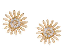 14kt yellow gold diamond sunflower stud earrings