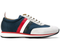Running Shoe With Red, White And Blue Stripe In Cotton Blend Tech