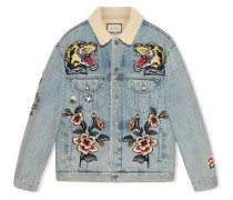 Oversized-Jeansjacke mit Patches