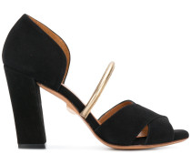 peep toe block heel sandals
