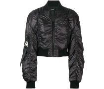 cropped ruched bomber jacket