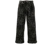 Faux-Fur-Hose mit Leoparden-Print