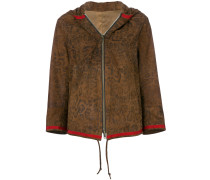 leopard print hooded leather jacket - Unavailable
