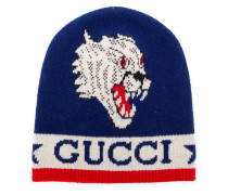 knit tiger patch beanie