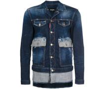 asymmetric distressed denim jacket