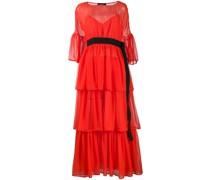 Gerüschtes Kleid mit Gürtel