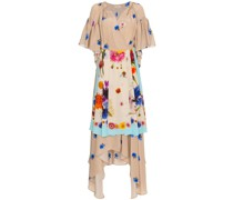 Silk Floral Apron Wrap Dress