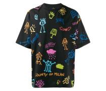 T-Shirt mit Zeichnungs-Print