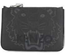 Tiger logo print clutch
