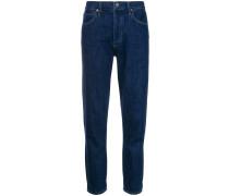 high rise raw hem skinny jeans