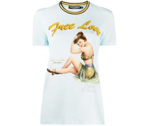"""T-Shirt mit """"Free Love""""-Print"""