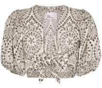 Cropped-Bluse mit Puffärmeln