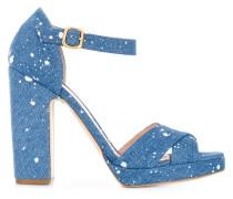 paint splatter denim sandals