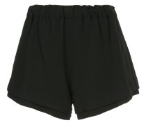 crepe flared layered shorts