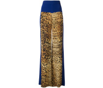 panelled leopard print trousers