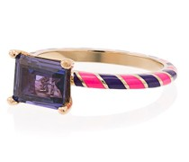 14k Yellow Gold Candy Kimono Violet Blue Sapphire Ring