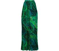 leaf print wide leg trousers