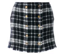 Front-buttoned Lightweight Tweed Mini Skirt