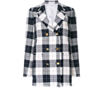 Double Breasted Sack Jacket With Fray In Large Buffalo Check Wool/cotton Sable