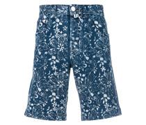 floral-print denim shorts