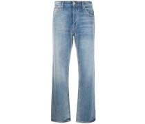 medium wash wide-leg jeans