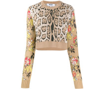Cropped-Pullover mit Leo-Print