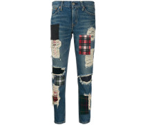 Gerippte Jeans mit Patches