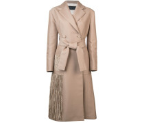 Chenille Embroidered Long Belted Coat