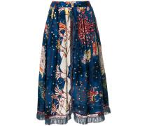 fringe detail printed skirt