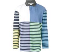 Gestreiftes Patchwork-Poloshirt