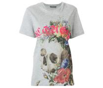 T-Shirt mit floralem Totenkopf-Print