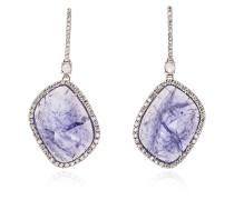 Purple and White Gold Quartz and Diamond Earrings