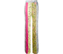 patchwork mix straight leg trousers