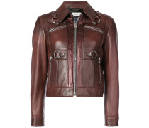 harness detail leather jacket