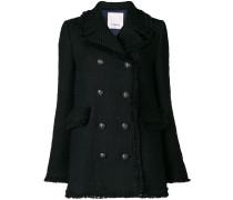 Doppelreihiger Mantel mit Fransen
