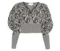 Cropped-Pullover mit Zebramuster