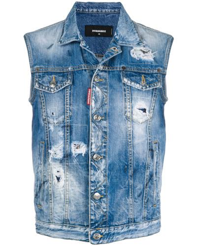 Jeansweste mit Distressed-Optik