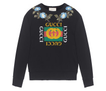Cotton sweatshirt with  logo and flowers
