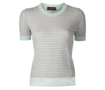 metallic threaded striped knitted top