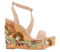 floral patch wedge sandals