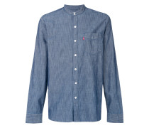 band collar denim shirt