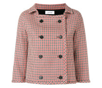 Cropped-Jacke mit Hahnentrittmuster